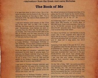 Custom Book of Me Print