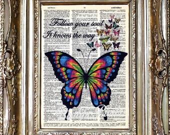 Butterfly Dictionary Art Print, Butterfly Sheet Music Art Print, Vintage Paper Print, Dictionary Art, Sheet Music Art, Butterfly Art