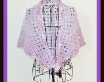 Lavender Shawl, Crochet Shawl, Shawl, Crochet Wrap, Cover Up, Lace Cover Up, Light Weight Shawl, Cozy Shawl, Triangle Shawl, Purple Shawl