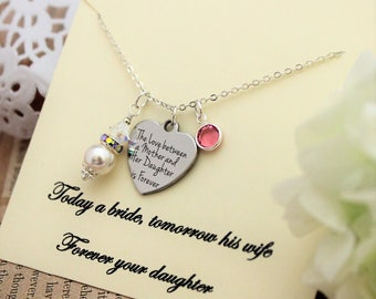 MOTHER OF BRIDE Gift From Bride Gift for Mom Necklace Gift from Daughter Pearl Necklace Gift to Mom from Daughter Birthstone Necklace