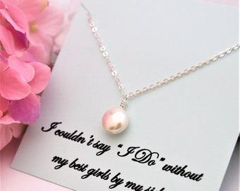 BRIDESMAID PROPOSAL Bridesmaid Necklace Will you be My Bridesmaid, Bridesmaid Ask Bridesmaid Pearl Necklace Bridesmaid Gift Thank you Gifts