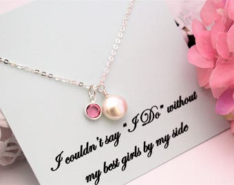 BRIDESMAID PROPOSAL Bridesmaid Necklace Will you be My Bridesmaid, Bridesmaid Ask Bridesmaid Pearl Necklace Personalized Bridesmaid Gift