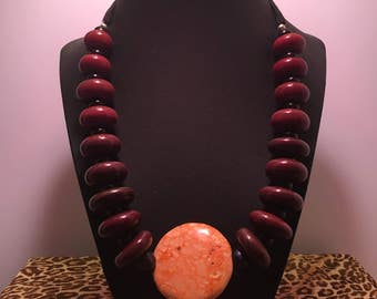 Brown, Rust, and Orange Chunky Necklace