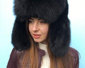 Black Fox Fur Full Ushanka Hat, Adjustable Saga Furs Hat, Midnight Black