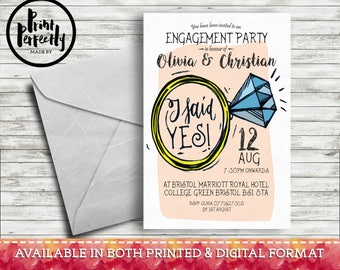 Shabby Chic Engagement Ring - Luxury Customised Engagement Party Invitations (Printed & Digital)