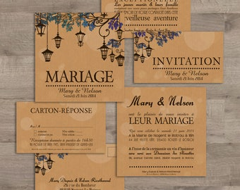 Lanterns wedding invitation