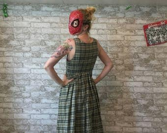 Vintage Japanese Green Tartan Dress
