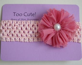 Pretty Peach and Pink Flower Headband with Pearl Accent