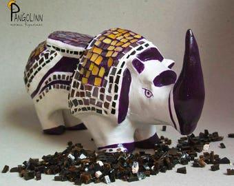 Rhino Mosaic Figurine, Rhino Statue, Rhino Art, Rhinoceros Sculpture, Mosaic Art