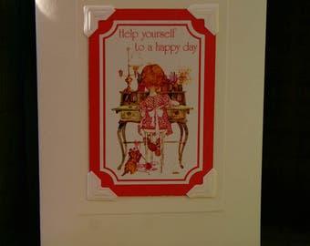 Handmade greetings/birthday card. Genuine vintage playing card, 1970s Holly Hobbie