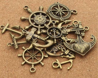 20pcs/lot Mixed Antique Bronze Compass Rudder Anchor Charm Pendant for Diy Bracelets Jewelry Making Handmade Craft