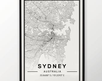 Sydney City Map Print, Modern Contemporary poster in sizes 50x70 fit for Ikea frame All city available London, New york Paris Madrid Rome