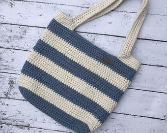 Striped blue crochet cotton tote
