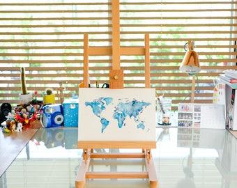 Original Watercolour World Map Artwork, A4 World Art Pink or Blue