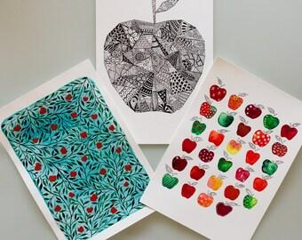 Original Watercolour Teacher Gift Artwork, Apples for the Teacher, Classroom Art
