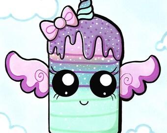 A5 Kawaii unicorn pop print