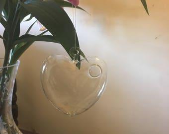 Heart Shaped hanging glass vase