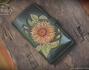 Sunflower leather carving wallet