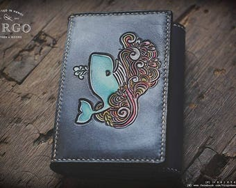 Whale and waves hand tooled hand craved small wallet