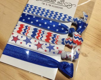 Fourth of July hair tie set- 5 pieces