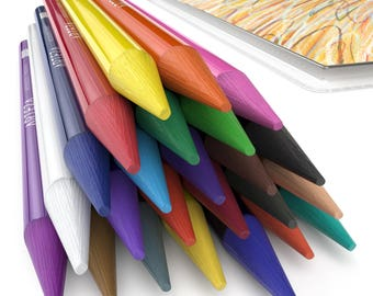 Arteza Woodless Colored Pencils - 24-Colors - Soft-Core - Pre-sharpened (Set of 24)