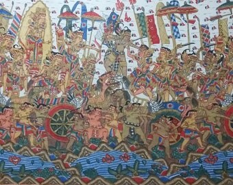 "Balinese Painting Kuru Setra War Mahabarata Big 51"" x 31"" Very Good Condition"