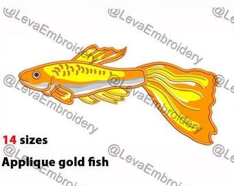 Gold fish Applique Design. Machine embroidery design. 14 sizes. Gold fish embroidery design. Gold fish applique. Machine embroidery  fish.