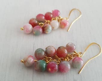 Multicolored jade beads, wire wrapped, gold plated earrings.