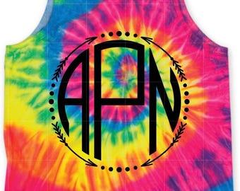 Neon Tie Dye Tank with Arrow Monogram with glitter vinyl