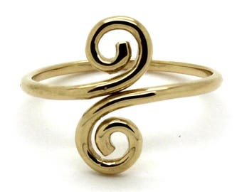 14K Yellow Gold Adjustable Double Swirl Flourish Loops Toe Ring