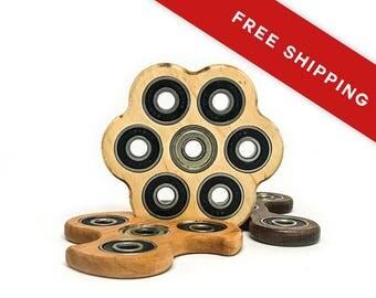 Natural Pine Handmade Honey Comb Wood Fidget Spinner Toy with Premium Bearings