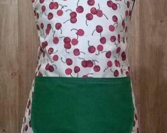 Kids cherry green handmade children's apron