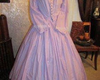 1860's style gingham semi sheer cotton dress