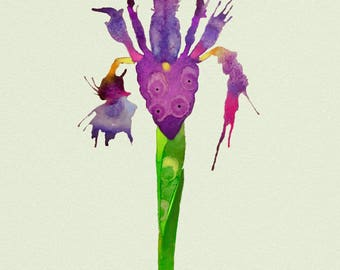 Punk Lily, is a print created from a watercolor painting from my new botanical series, colorfully rendered