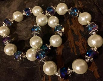 Pearl And Crystal Stretch Bracelet with Silver Accent