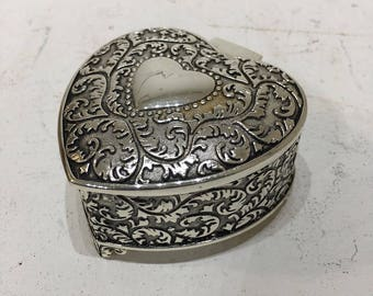 Silver Plated Heart Shaped Box