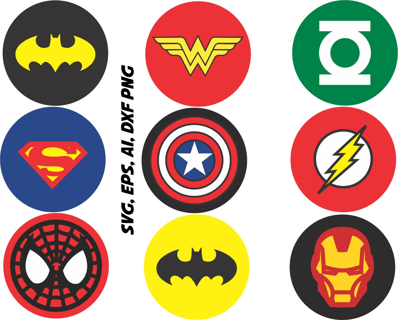 Superhero logos SVG Captain america, ironman, batman, etc ...