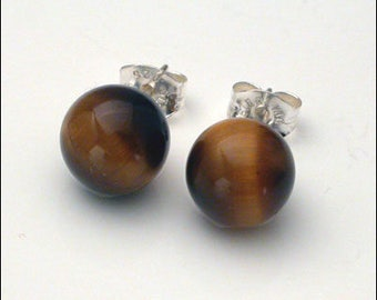 Tiger Eye 8mm Round Studs Earrings - Sterling Silver