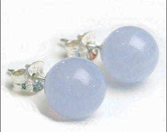Blue Lace Agate 8mm Round Studs Earrings - Sterling Silver