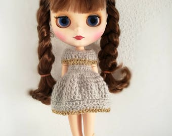 Dress for blythe crochet, grey and gold