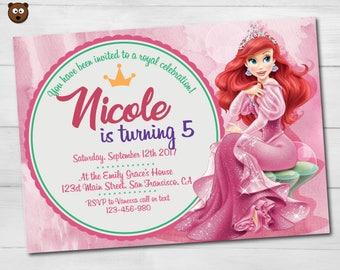 Ariel Invitation, Ariel Invite, Ariel Party, Ariel Birthday,  Ariel Printable, Ariel Digital, Princess, Disney Party,  Disney, HBS 13 Ariel