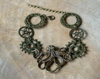 Steampunk Octopus Bracelet, Steampunk Jewellery, Steampunk Bracelet