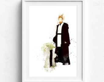 Yoda art, yoda poster, star wars art, star wars yoda, star wars wall art, yoda watercolor, star wars art print, master yoda art yoda fan art