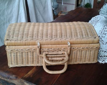 small suitcase Wicker rattan year 60