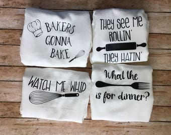 Set of 4 Funny Tea Towels - Flour Sack Towels - Kitchen Towels