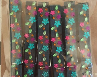 Decorative Teal Jeweled Clothespins