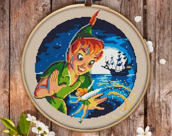 Modern Cross Stitch Pattern of Peter Pan for Instant Download - 052| Easy Cross Stitch| Counted Cross Stitch|Embroidery Design