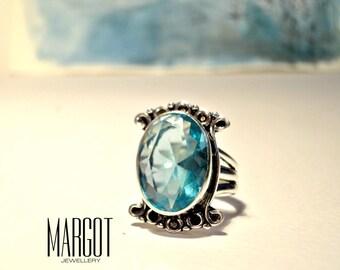 Blue Topaz Sterling Silver .925 Ring