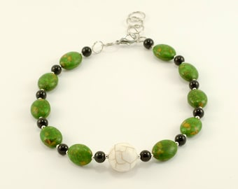 """Handmade beaded necklace, green and black,  Length: 15 3/4"""""""