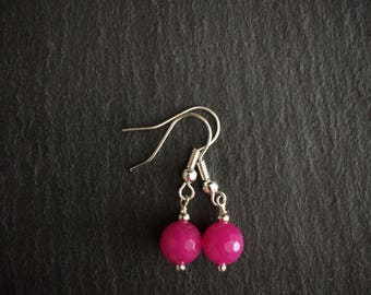 Fuchsia Quartz Earrings, Bright Pink Earrings, Simple Quartz Earrings, Quartz Jewelry